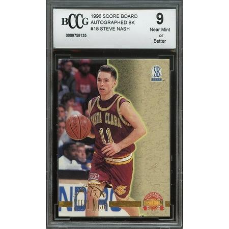 1996 score board autographed bk #18 STEVE NASH phoenix suns rookie BGS BCCG 9 (1996 Best Autographs)