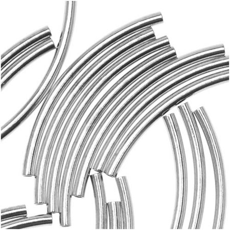 Silver Plated Curved Noodle Tube Beads 1.5mm x 20mm (50) 20 Mm Curved Tube