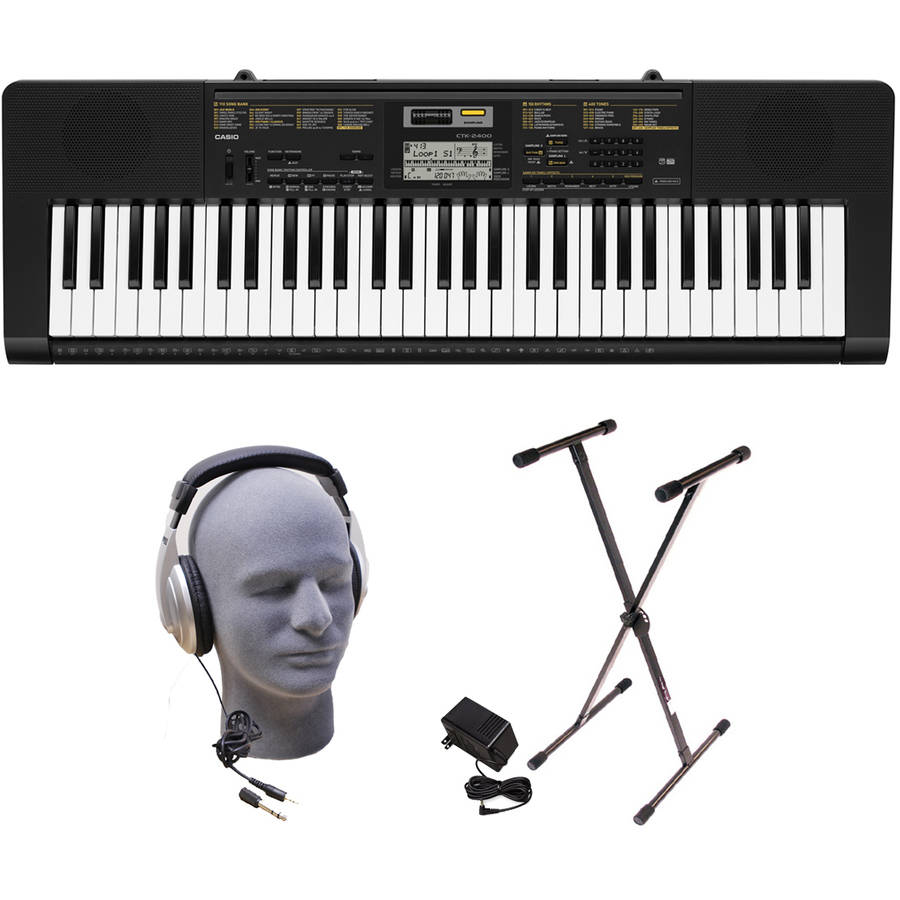 Casio CTK-2400 61-Key Premium Portable Keyboard Package with Samson HP30 Headphones, Stand... by Generic