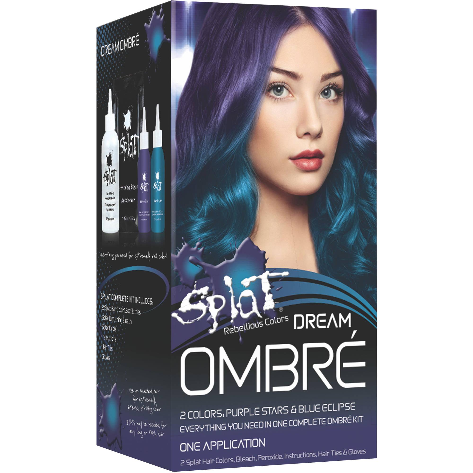 Splat 30 Wash Ombre Dream Hair Color Kit, Semi-Permanent Blue & Purple Dye  - Walmart.com