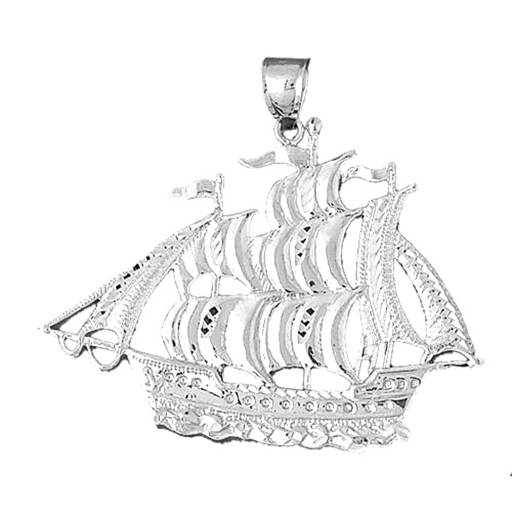 Sterling Silver Pirate Ship Pendant - 46 mm (Approx. 7.99 grams)