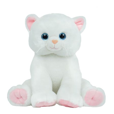 Record Your Own Plush 16 inch Happy White Cat - Ready To Love In A Few Easy Steps ()