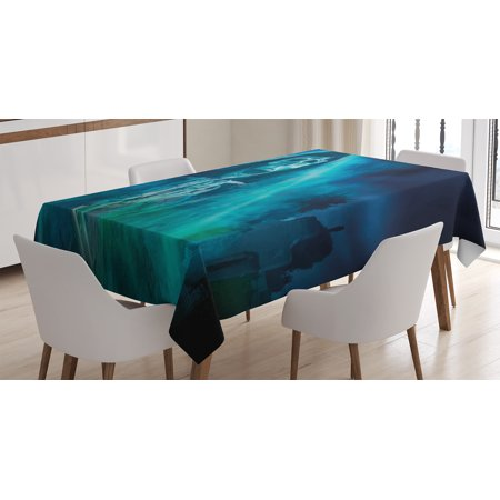Halloween Decorations Tablecloth, Gothic Dark Backdrop with a Dead Ghost Skull Mystical Haunted Horror Theme, Rectangular Table Cover for Dining Room Kitchen, 60 X 84 Inches, Blue, by - Halloween Horror Theme Song