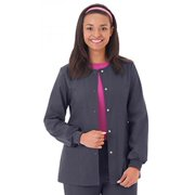 F3 Fundamentals By White Swan Women's Snap Front Warm Up Solid Scrub Jacket Medium Charcoal
