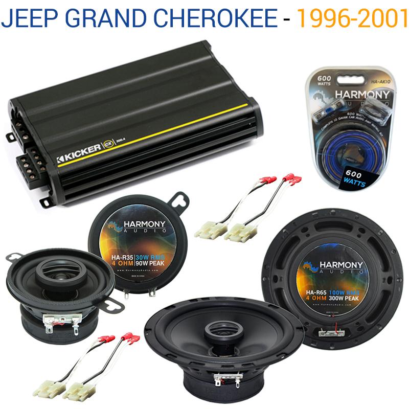 Jeep Grand Cherokee 1993-1995 OEM Speaker Upgrade Harmony Speakers & CX300.4 Amp Factory Certified Refurbished by Harmony Audio