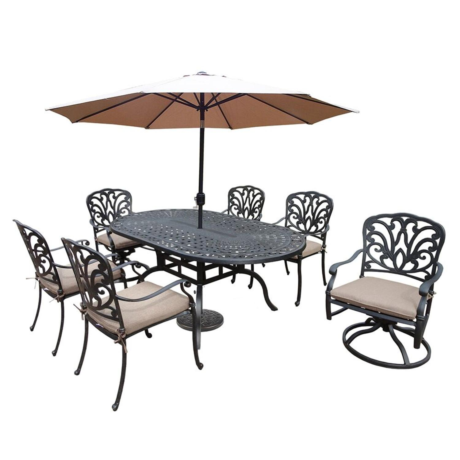 9-Piece Black Hampton Oval Outdoor Patio Dining Set w/ Cream Cushions and Umbrella