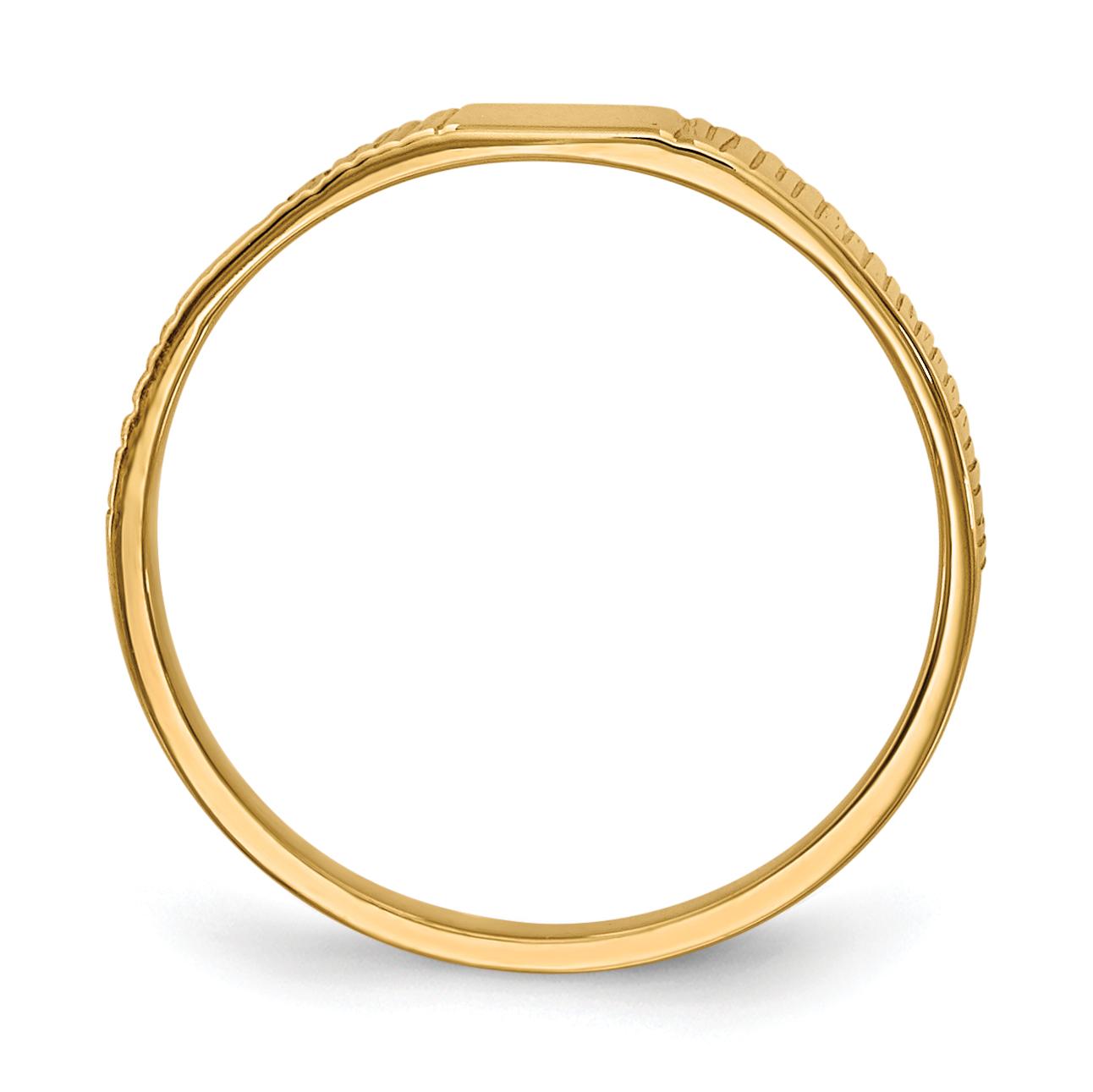 14K Yellow Gold Polished & Ridged Baby Ring - image 4 of 5
