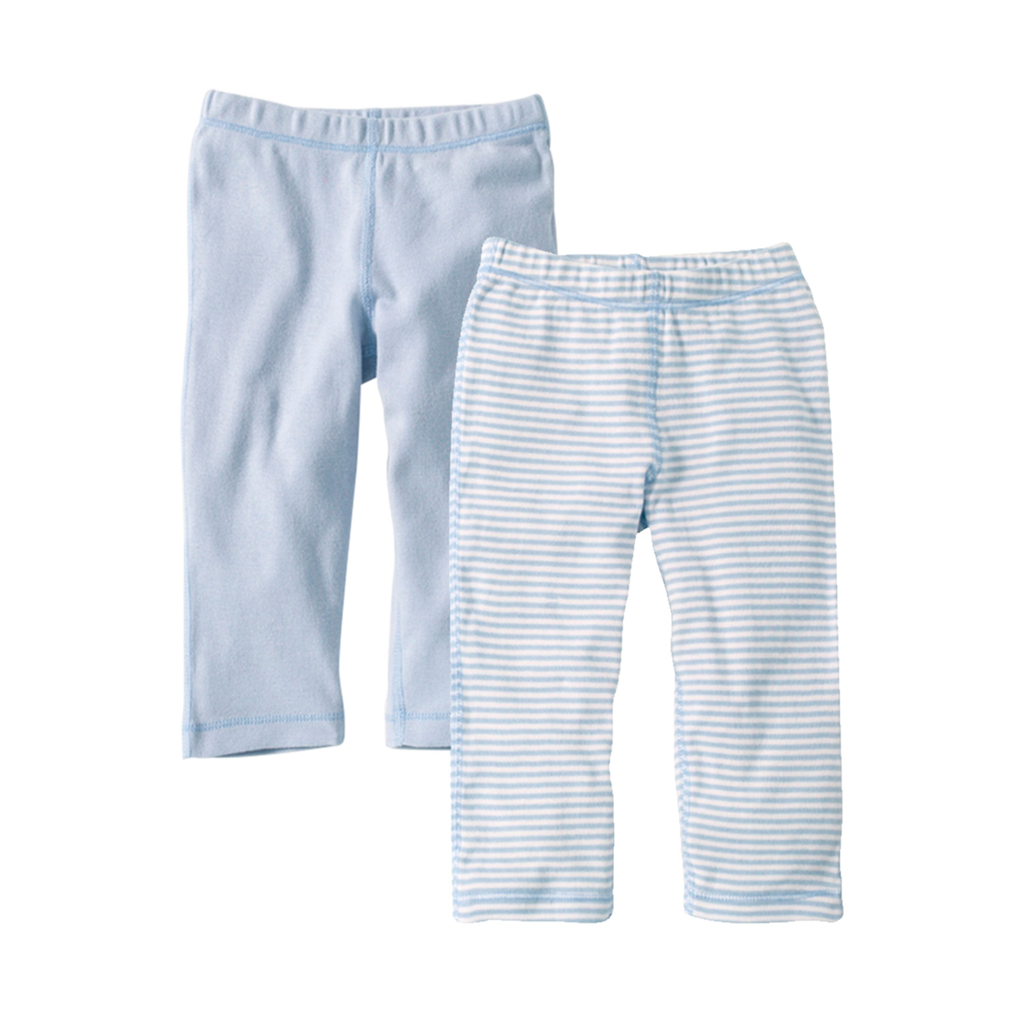 Organic Footless Pants, Solid and Stripe, 3M, Sky 2 Ct