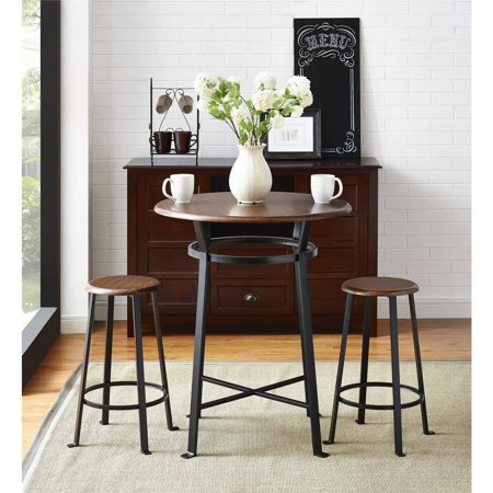 Mainstays Round 3pc Metal Pub Set with Wood Top, Dark Mahogany