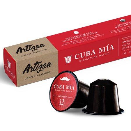 Authentic Cuban Style Espresso (Cafecito) - Nespresso Compatible - 100% USDA Certified Organic Coffee - Cuba Mia Signature Blend - High Intensity  Dark Roast - Roasted in Miami, FL - 20 Pods (Cuban Food)
