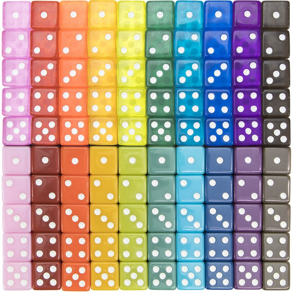 100-pack Translucent & Solid 6-sided Game Dice, 20 Sets of Vintage Colors, 16mm Dice for Board Games and Teaching Math by, 100 DICE: Traditional.., By Brybelly