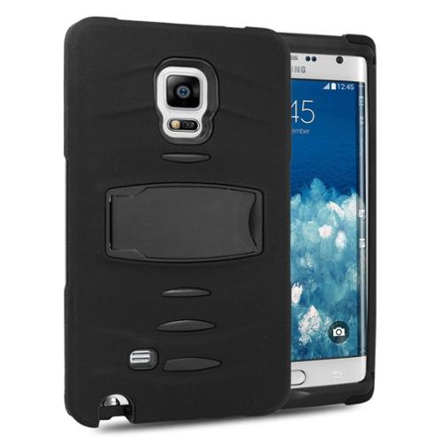 Insten Soft Dual Layer Rubber Hard Case with stand For Samsung Galaxy Note Edge - Black