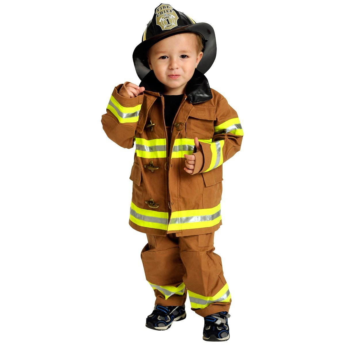 Kids Jr. Fire Fighter Suit Costume with helmet, size 8 10 (tan) by Aeromax