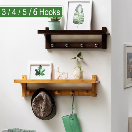 3/4/5/6 Hooks Rack Wall Mount Hanger Key Coat Hat Holder Wooden Bamboo Organizer, 2 Colors ()