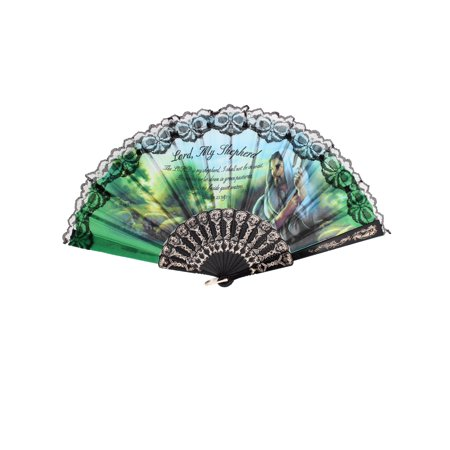 Unique Bargains Portable Black Plastic Frame Cut Out Ribs Skulls Print Folding Hand Fan](Folding Hand Fan)