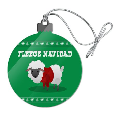 Fleece Feliz Navidad Sheep Christmas Holiday  Acrylic Christmas Tree Holiday Ornament ()