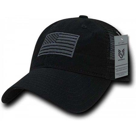 RapDom Tonal USA Flag Polo Mens Mesh Back Cap [Black - Adjustable] - Uta Caps