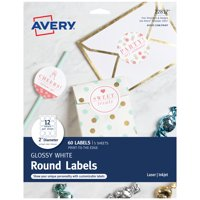 """Avery Circle Labels, Laser/Inkjet, 2"""", 60 Glossy Labels (22817)"""