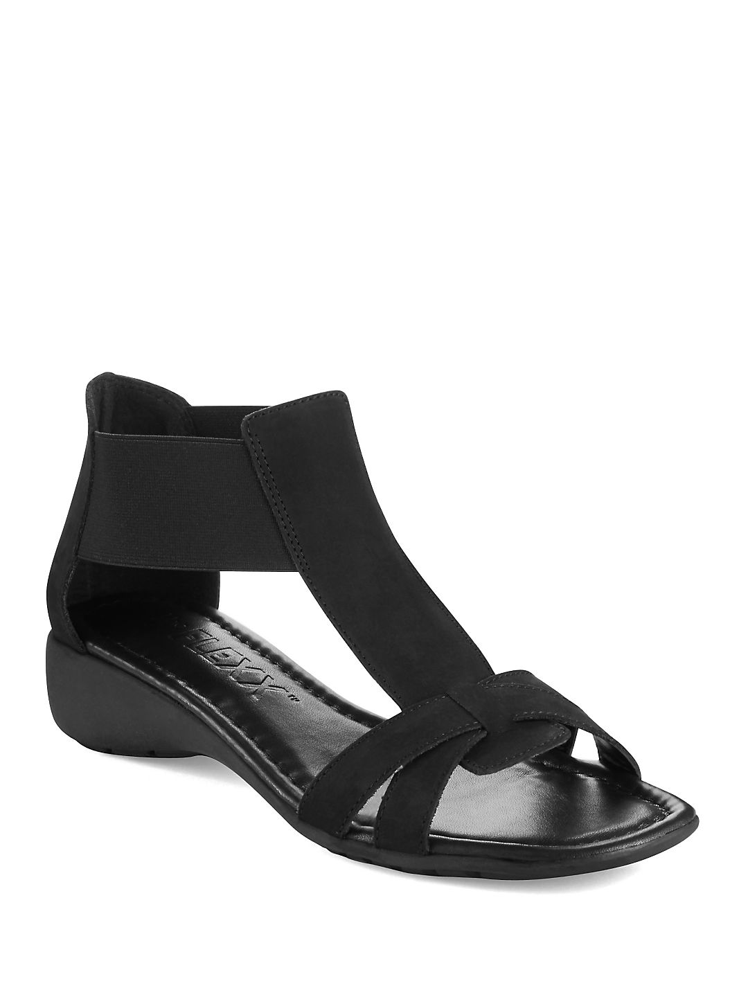 Band Together Saffiano Leather T-Strap Sandals