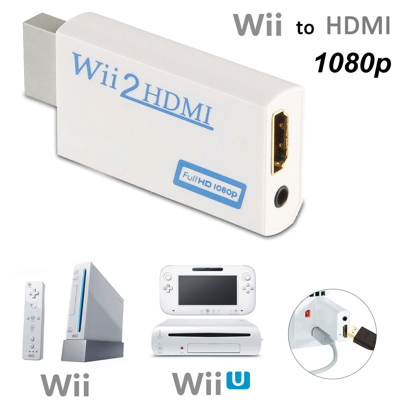 Wii TO HDMI Converter 720P 1080P HD Output Upscaling NTSC 480i Adapter White