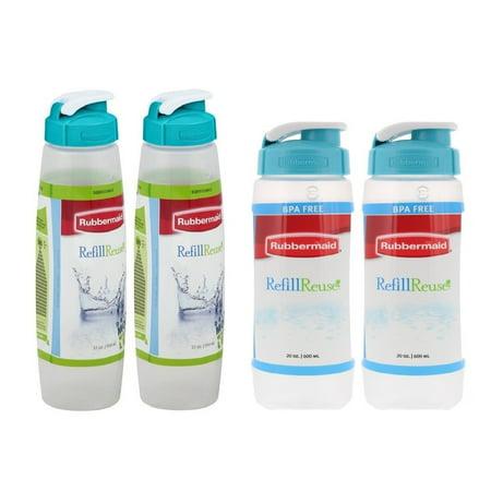 Four Bottle (Rubbermaid Refill Reuse Chug Bottle 32 & 20 Oz Combo Set (Pack of 4) )