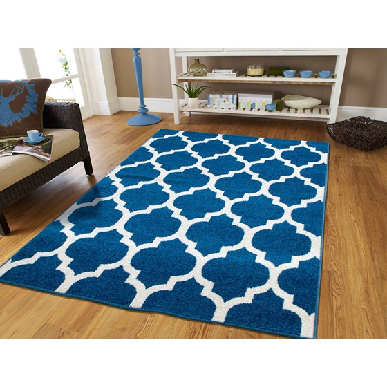 Luxury moroccan trellis area rugs on clearance 5x7 blue How to buy an area rug for living room