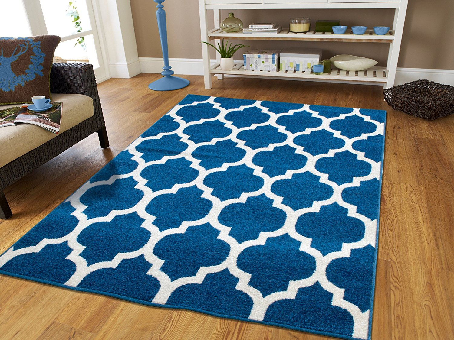 Fashion Luxury Morrocan Trellis Rugs 8x10 Area Rugs On Clearance Blue Rugs  For Living Room 8x11Dining