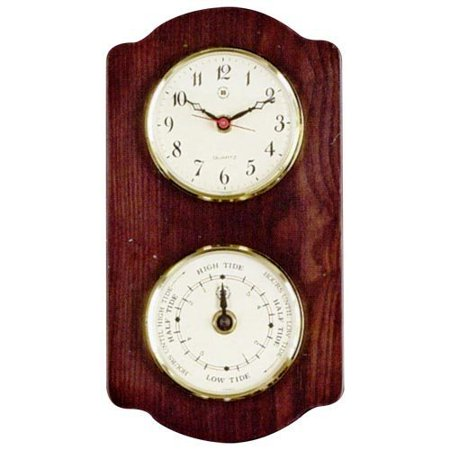 Quartz Clock & Tide Clock On Ash Wood With Brass (Tide Quartz Clock)