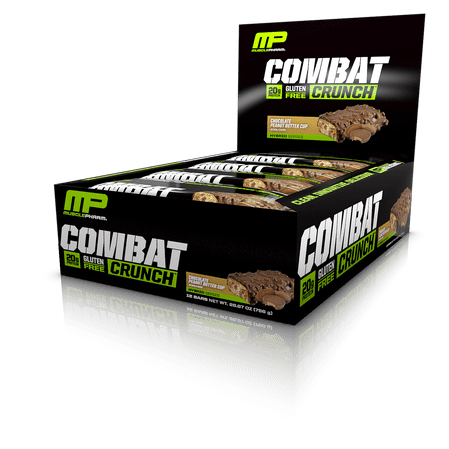 MusclePharm Combat Crunch Protein Bar, Chocolate Peanut Butter Cup, 20g Protein, 12 Ct