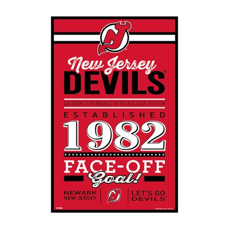 wholesale dealer 061d5 a91e6 New Jersey Devils Sign 11x17 Wood Established Design ...