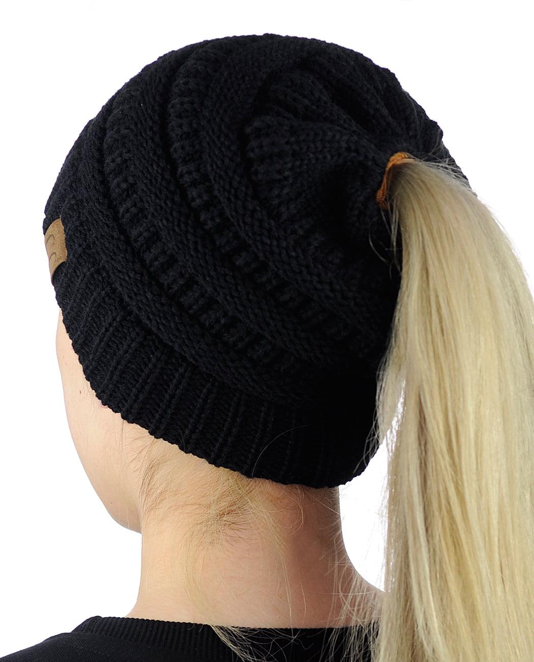 discount c.c beanietail soft stretch cable knit messy high bun ponytail beanie  hat black c1907 48b62 5178c7de8fdc