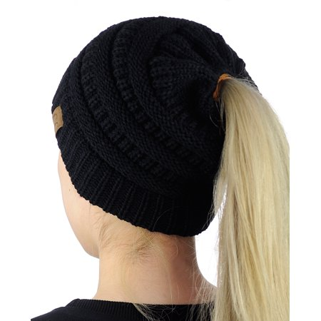 80fa8337 C.C BeanieTail Soft Stretch Cable Knit Messy High Bun Ponytail Beanie Hat,  Black - Walmart.com