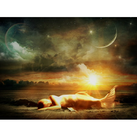 Canvas Print Star Moon Clouds Sky Water Mermaid Sun Sea Wave Stretched Canvas 10 x 14