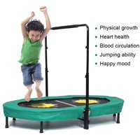 Doufit TR-01 Trampoline for Kids and Adults Double Jumping Fitness Rebounder Foldable Trampoline for Indoor/Outdoor Exercise with Adjustable Handle