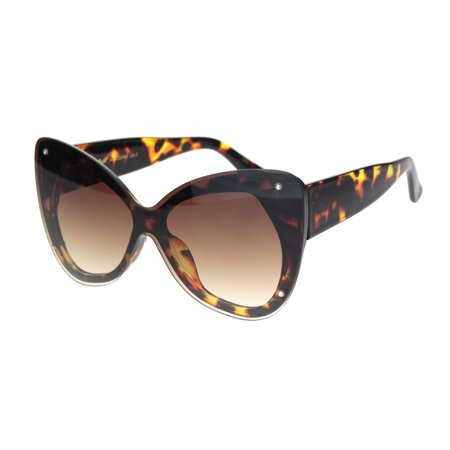 Womens Exposed Edge Shield Butterfly Plastic Sunglasses Tortoise Gradient Brown