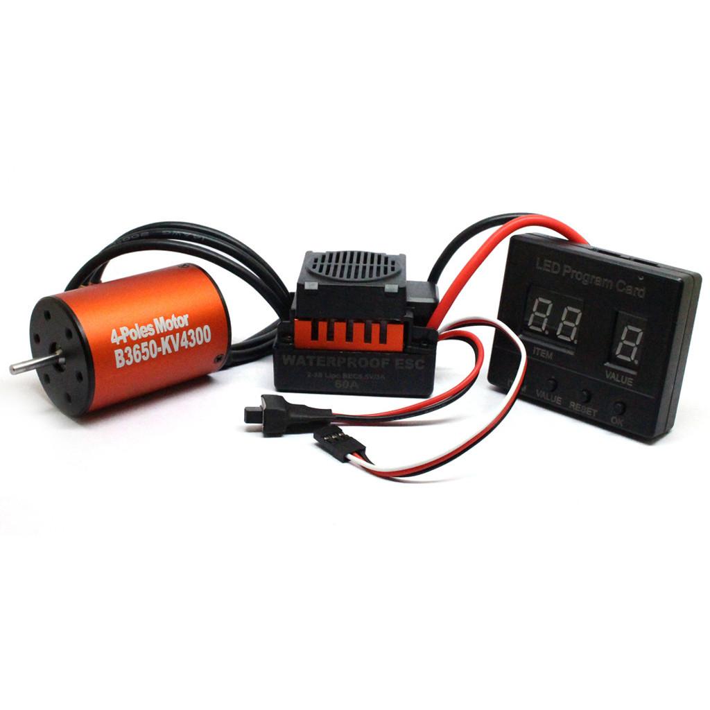 B3650 4300KV Brushless Motor+60A ESC Program Card Combo For 1//10 RC Car Truck