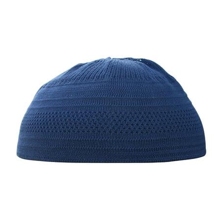 TheKufi® Dark Blue Kufi Cotton Stretch Hat Skull Cap Muslim Topi Takke (L)
