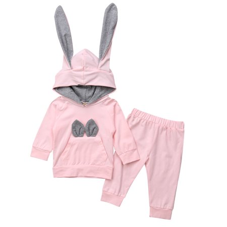 Baby Girl Clothes Ear Hooded Outfits Long Sleeve Hoodies Sweatshirts with Cute Pocket Tops+Pants Outfits Set