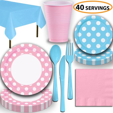 Disposable Tableware, 40 Sets - Lovely Pink and Powder Blue Dots - Dinner Plates, Dessert Plates, Cups, Lunch Napkins, Cutlery, and Tablecloths:  Party Supplies