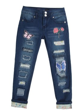 DG8-8K013(S) - Girls' Stretch, Patchwork, Rip and Repair Premium Skinny Jeans