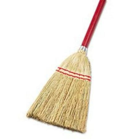 Unisan Angler Broom (UNISAN Lobby/Toy Broom, Corn Fiber Bristles, 39 Inch Wood Handle, Red/Yellow (951T))