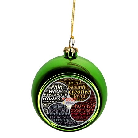 Meditation Balm - Good Personality Character Traits Zen Meditation Bauble Christmas Ornaments Green Bauble Tree Xmas Balls