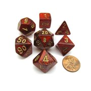 Chessex Polyhedral 7-Die Glitter Dice Set - Ruby Red with Gold Numbers #27504