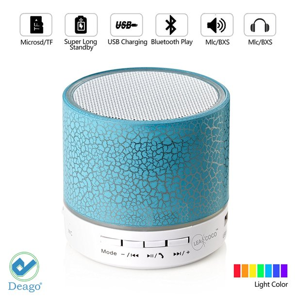 Deago Wireless Bluetooth Speaker Portable Mini Stereo Sound Box With Mic Led Light For Iphone Ipad Android Smartphones Walmart Com Walmart Com