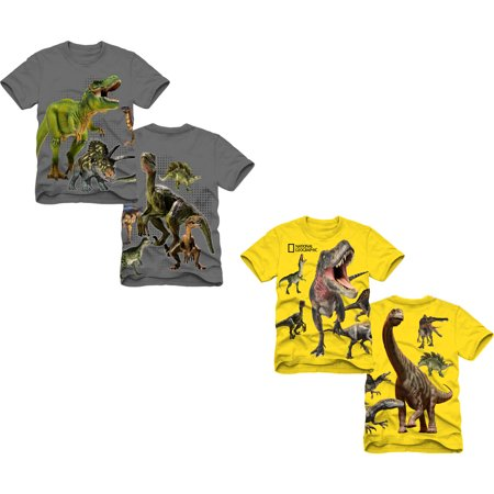 National Geographic Boys' Dinosaur Cotton T-Shirt, 2 Pack