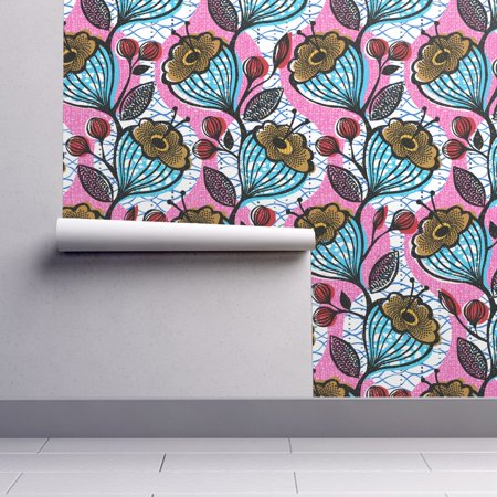 Peel-and-Stick Removable Wallpaper Floral Bright Pink And Blue Flower Mod Boho