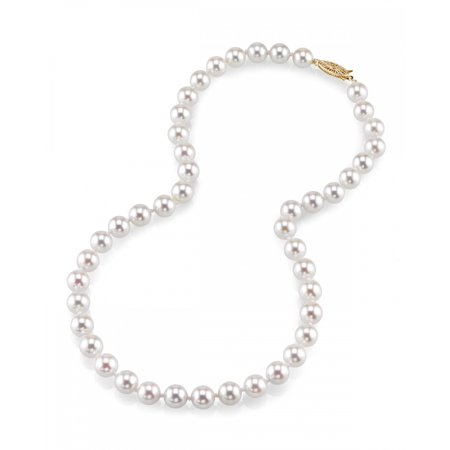 18K Gold 7.0-7.5mm Japanese Akoya Saltwater White Cultured Pearl Necklace - AA+ Quality, 18