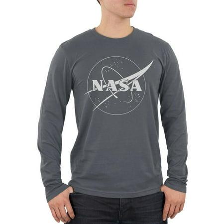 NASA Outline Logo Mens Soft Long Sleeve T Shirt - Outline Logo Tee