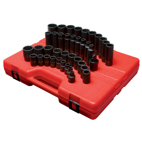 "Sunex 2699 1/2"" Dr. 12 Pt. 39 Pc. Metric Master Impact Socket Set"