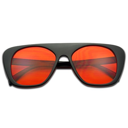 Oversized Squared Black Frame Sunglasses with Therapy Translucent Red Tinted Lens - New Oversize Stylish Sunglass for Men and (Stylish Glasses 2017)